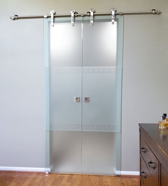 Chicago Glass Bi-Parting Sliding Barn Doors