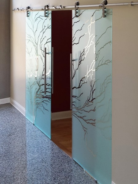 Etched Glass Barn Doors Creative Sliding Doors Of Chicago