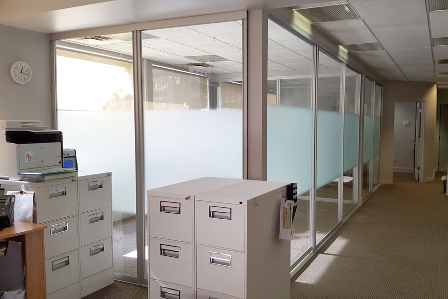 Corporate Office Sliding Glass Doors and Interior Glass Walls